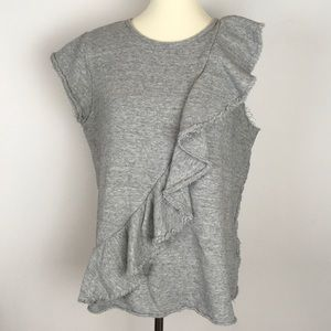 Deletta [Anthropologie] gray French terry top | Lg